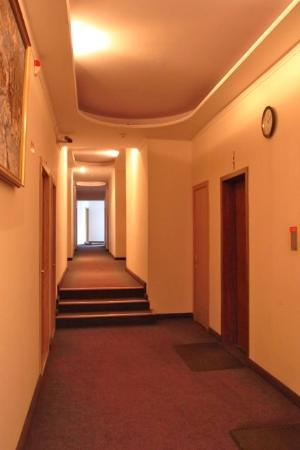 Polesye Hotel : エレベーターホールから客室方向の廊下