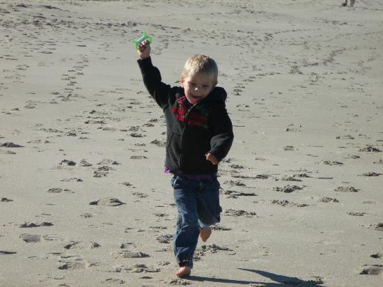 The Coho Oceanfront Lodge : My grandson loved flying kites on the beach