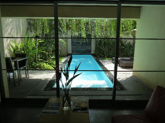 Bali Island Villas & Spa: A View of The Plunging Pool from the Living Room.