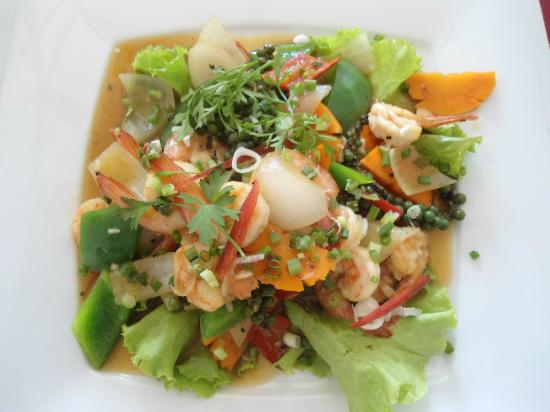 Au Cabaret Vert : crevettes au poivre de kampot