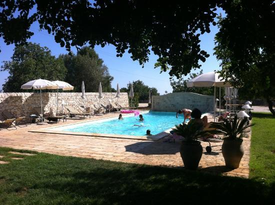 Masseria Ciancio: La piscina con l'ombra dei carrubi