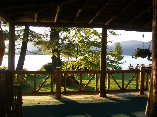 The Hedges: Main Lodge porch in late afternoon sun