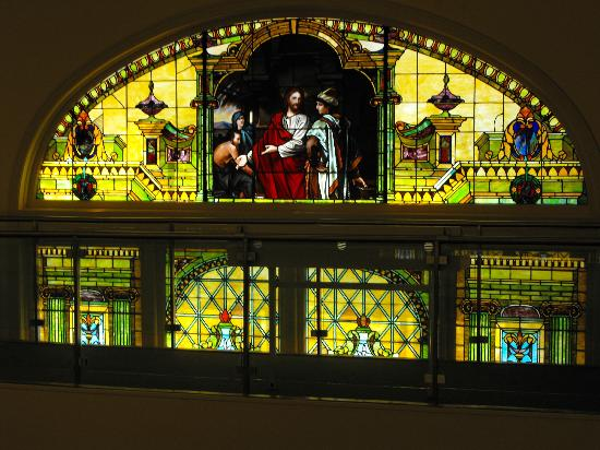 Joliet Area Historical Museum: The Museum is in a former church.  They kept the four giant stained-glass windows.