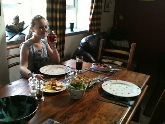 Rhosydd Bach: enjoying our meal in helyg cottage