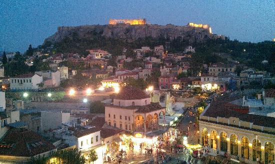 A for Athens: View from roof top bar at night