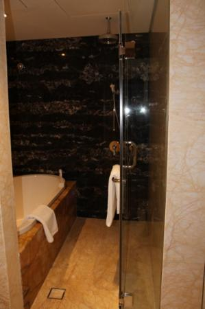 Ramada Jumeirah: nice tub and rainfall shower
