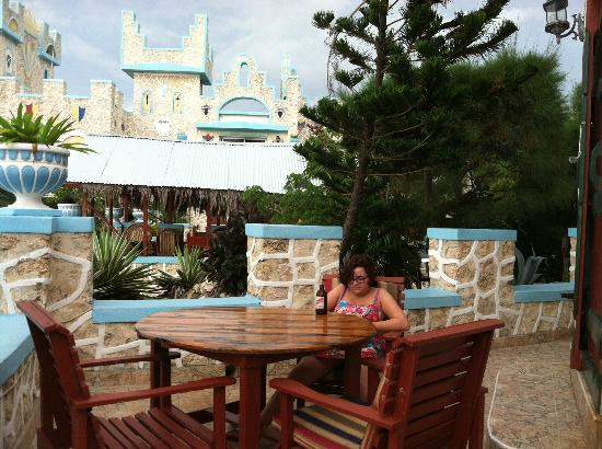 Blue Cave Castle: Patio outside of one of our Superior air conditioned rooms.