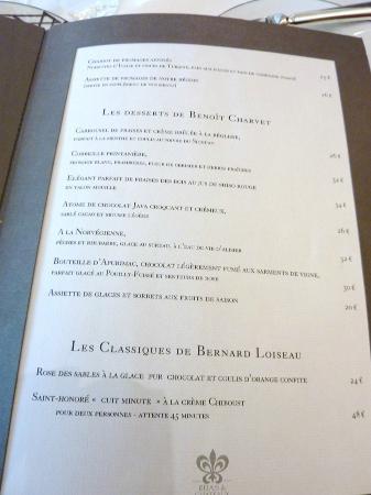 Le Relais Bernard Loiseau: la carte