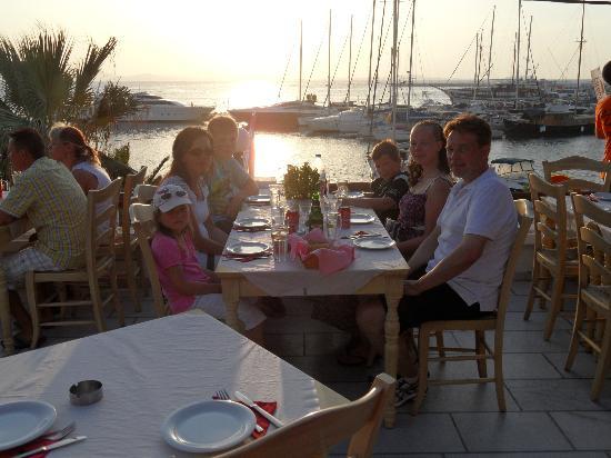 Flamingo: Family dinner at sunset