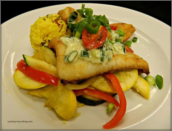 Ports of Call: Haag and Son's Flounder w/ jalapeno cream sauce.