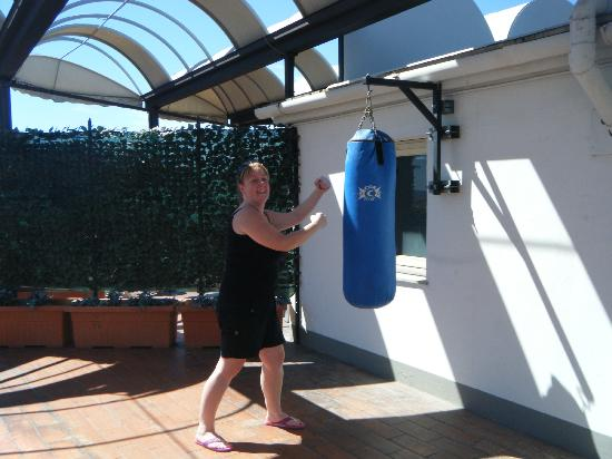 Hotel San Marco: the punching bag as part of the gym on the roof terrace