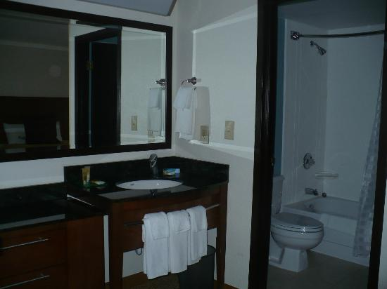 Hyatt Place Cincinnati/Blue Ash: bathroom sink is directly in front of beds