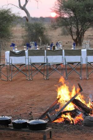 Jaci's Safari Lodge: Elaborate and lovely dinner in the bush