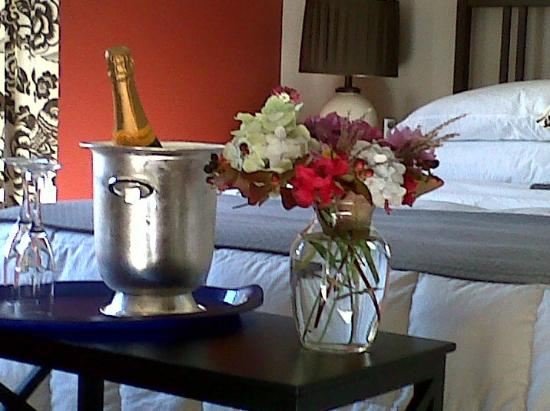 Hedgerow House Bed & Breakfast: Delivering surprise specially ordered champagne to room!