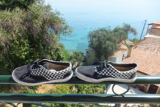 Perama Hotel: View from balcony, shoes not included