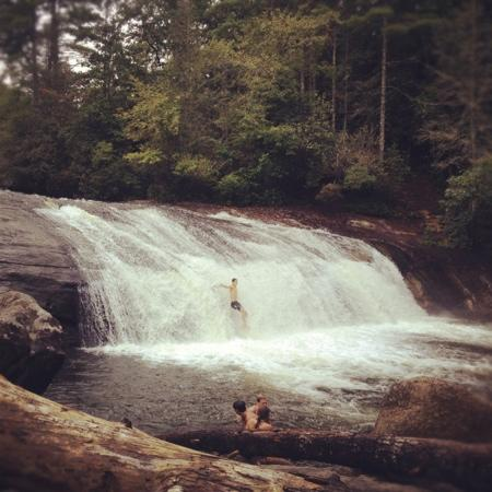 Horsepasture River and Nature Trails: Turtleback Falls with a swimmer