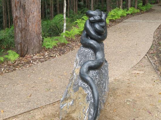 Maroochy Regional Bushland Botanic Garden: Sculptered Black Snake Near  Walkway.