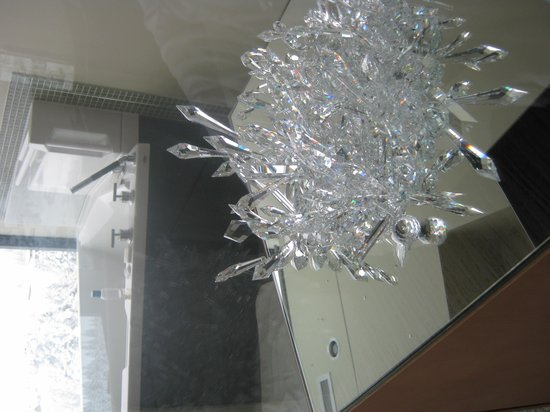 Sparkling Hill Resort:                   Bar fridge underneath the crystals