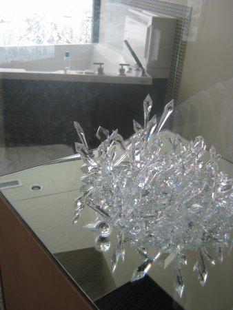 Sparkling Hill Resort:                   Bar fridge underneath the crystals