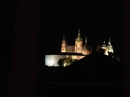 "Alchymist Nosticova Palace: view at night from the ""Anna Svídnická"" room."