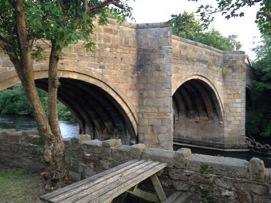 The Rutland Arms: Bridge at the end of the beer Garden