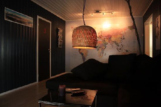 Tromso Bed & Books: TV lounge with home made tree lamp (Writer's home)