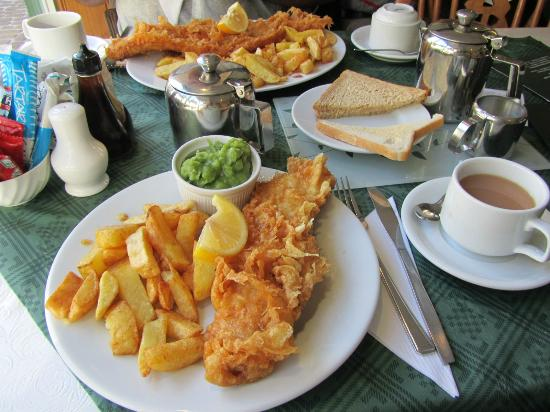 Front picture of drakes fish and chip restaurant and for Fish chips restaurant