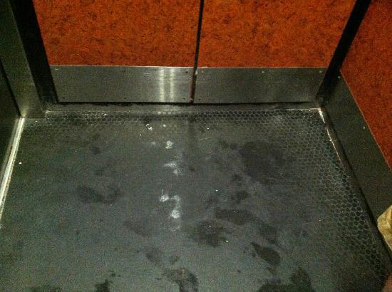ساندكاسيل أوشيانفرونت ريزورت: Dirty and slippery elevator floor 