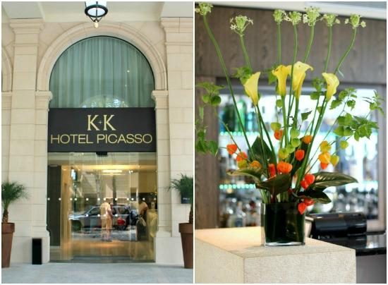 K+K Hotel Picasso: Entry of the hotel & beautiful flowers by the bar