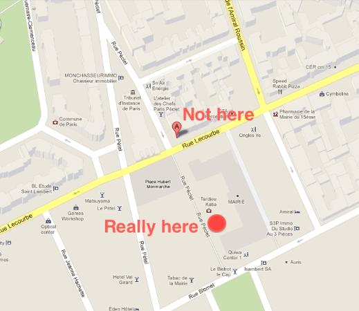 Bistrot Le Cap : Google maps is wrong. This is where it really is.