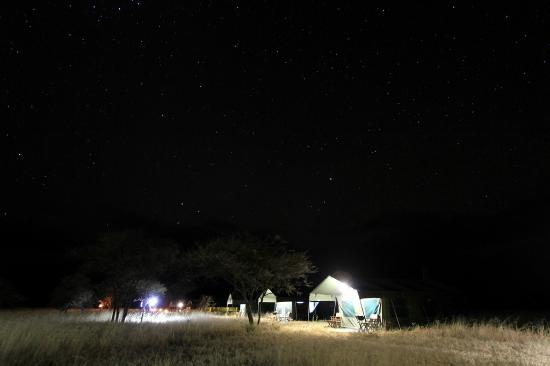 Serengeti Halisi Camp: The camp tents at night