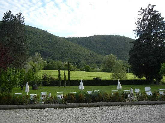 Villa di Piazzano: View from the restaurant of pool area and hillside
