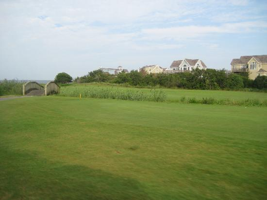 Nags Head Golf Links: View from 2nd shot on 4th hole. Hazard 200 yards from tee box, par 4