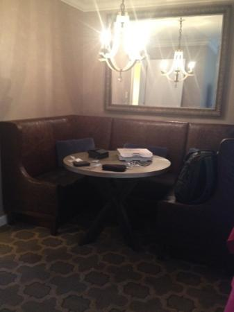 The Fairmont Dallas: cute banquette but a bigger bathroom would have made more sense. great catch all though..