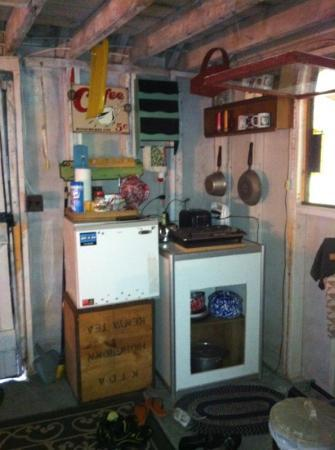 Gray's Log House Bed & Breakfast: little kitchen in camping cabin.