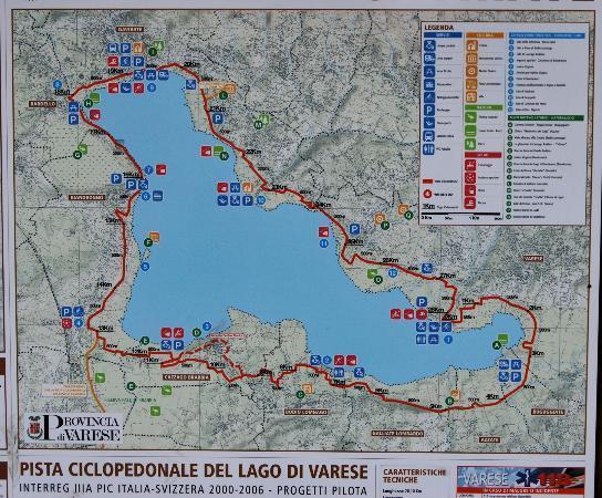 cartina della pista ciclo-pedonale del lago di Varese