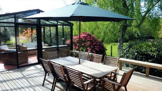Mokoia Downs Estate B&B : Deck overlooking gardens, paddock and lake