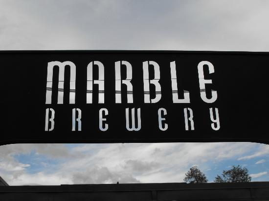 Marble Brewery: The sign welcoming you into the beer garden