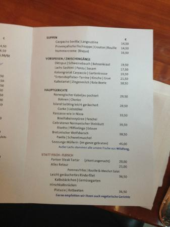 Patrick's Seafood No.1: Auszug Speisekarte