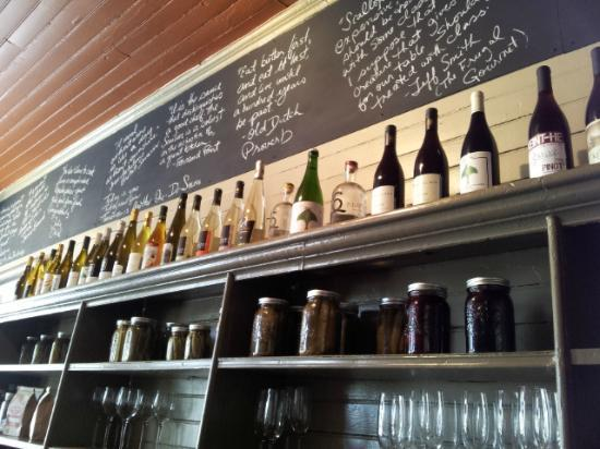 Milford Bistro: Wine Bottles with Chalk quotes