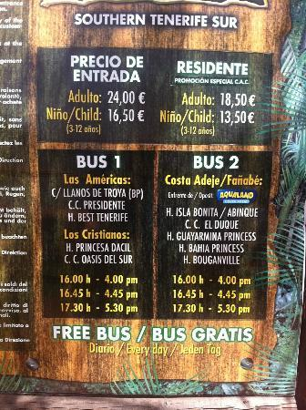Park Las Aquilas Jungle Park : Jungle Park entry prices and bus times