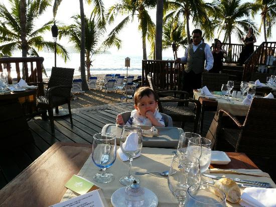 Club Med Ixtapa Pacific: My son at 8 months eating at the Miramar restaurant