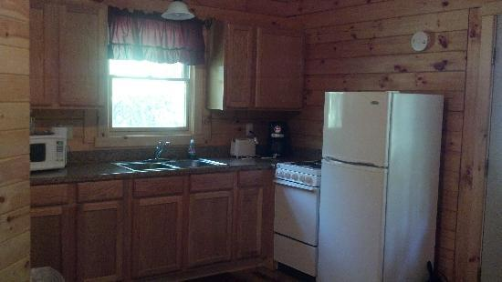 Blue Rose Cabins: the kitchen