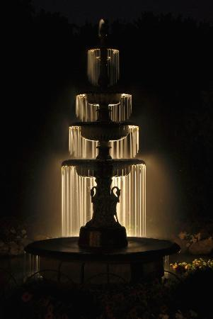 Habberstad House fountain at night