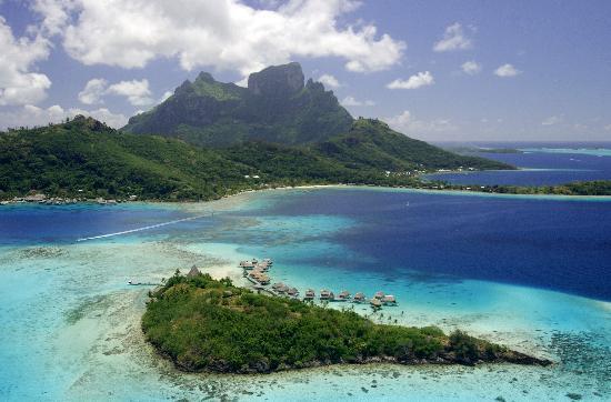 Sofitel Bora Bora Private Island: Aerial view of Bora Bora and our private island
