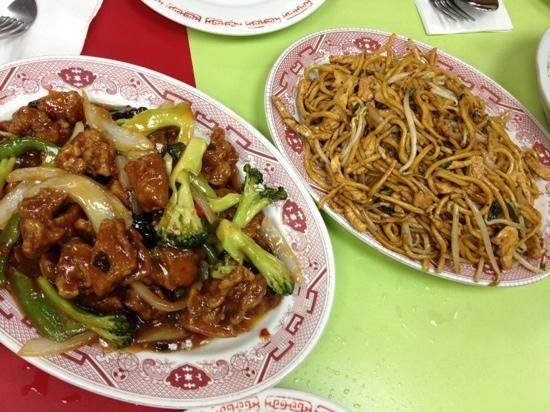 Wo Hop: duck lo-mein and beef something