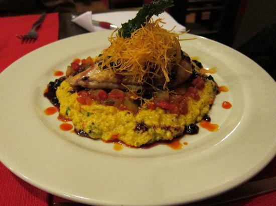 Fusiones Restaurant: Chicken with quinoa risotto and sauco sauce