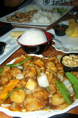 Ginger Bistro: kung pao chicken, spring rolls and cheesy crab rangoon
