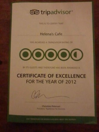 Helena's Cafe: Certificate Of Execellence By Tripadvisor For Helenas cafe