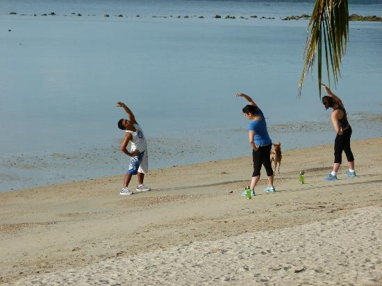 Samahita Retreat: morning exercise class for weight management course- beach front